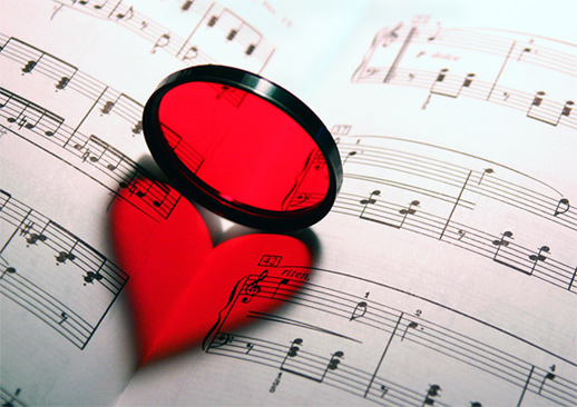 red filter heart music